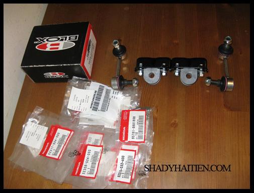 Honda mounting brackets and Blox endlinks